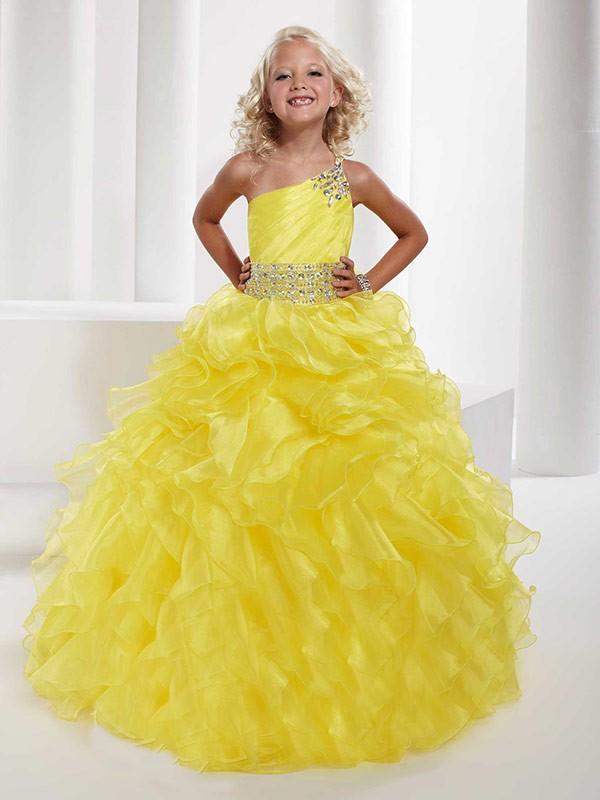 Yellow One-Shoulder Organza Floor-Length Flower Girl Dresses