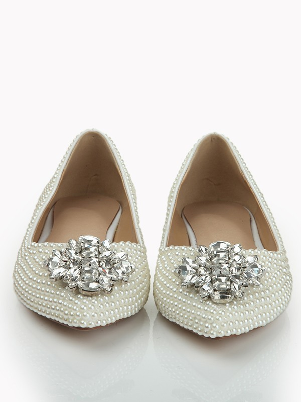 Patent Leather Closed Toe Flat Heel With Pearl Rhinestone Flat Shoes