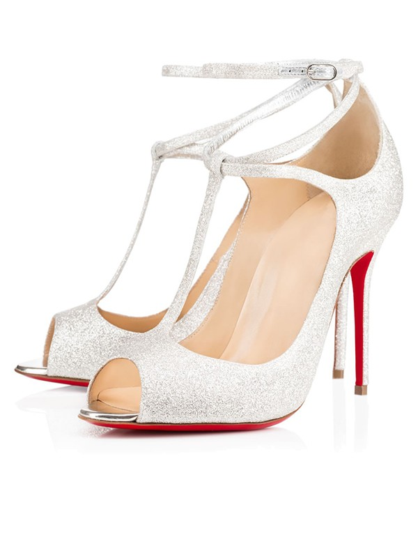 Sparkling Glitter Peep Toe with Ankle Strap Stiletto Heel High Heels