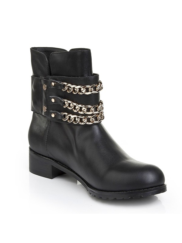 Cattlehide Leather Kitten Heel With Chain Booties/Ankle Black Boots