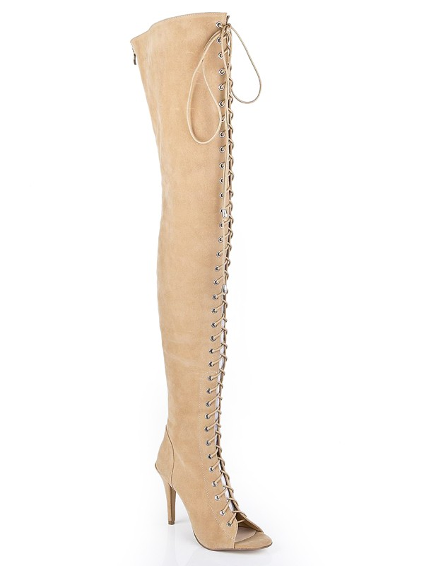 Suede Stiletto Heel Peep Toe With Lace-up Over The Knee Champagne Boots