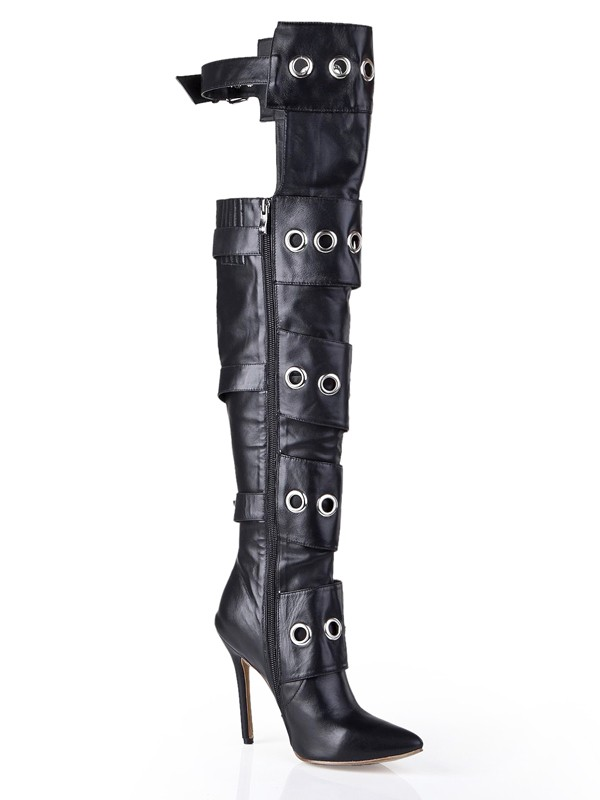 Cattlehide Leather Stiletto Heel With Buckle Knee High Black Boots