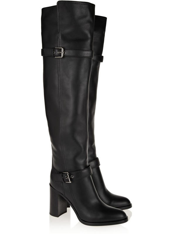 Chunky Heel Cattlehide Leather With Buckle Knee High Black Boots