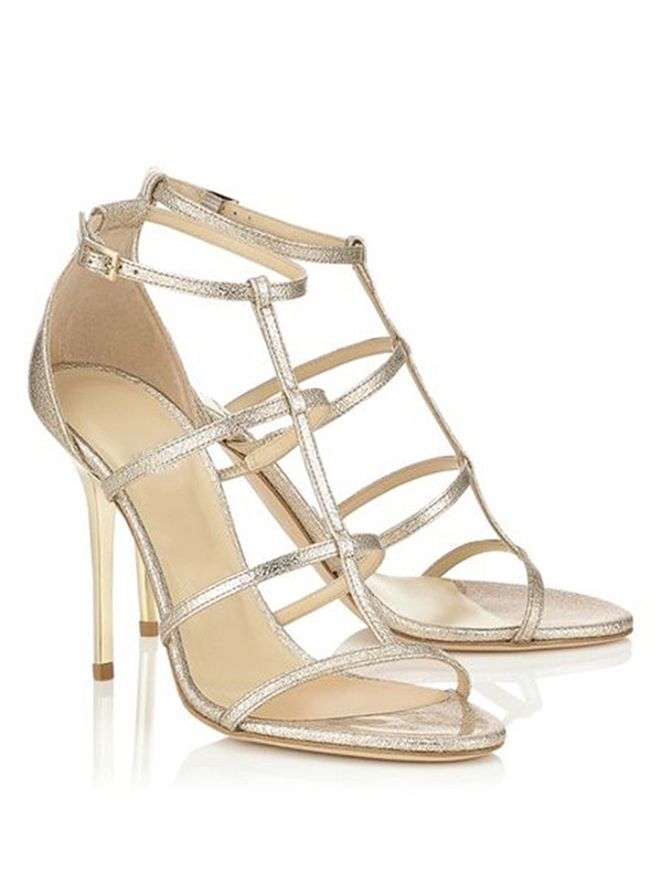 Sheepskin Peep Toe Stiletto Heel With Buckle Sandals Shoes