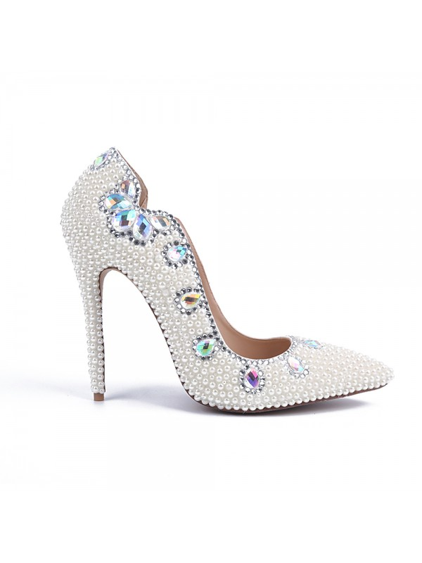 Stiletto Heel Patent Leather Closed Toe With Pearl White Wedding Shoes