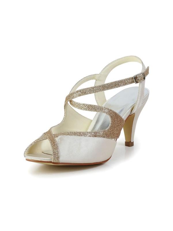 Satin Peep Toe Pumps Sandals Dance Shoes With Rhinestone