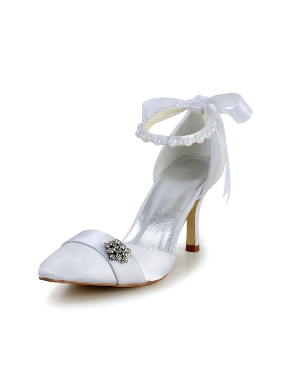 Satin Stiletto Heel Closed Toe Dance Shoes Pearl