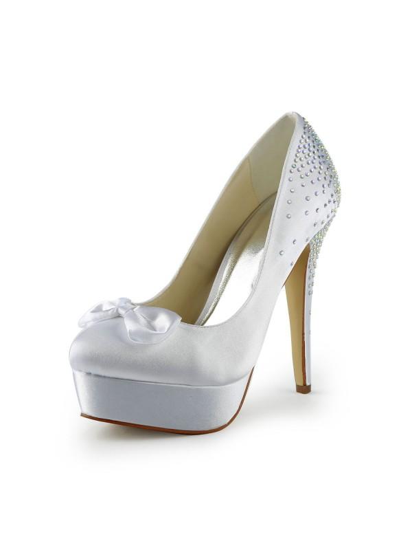 Satin Stiletto Heel Closed Toe Platform White Wedding Shoes With Bowknot