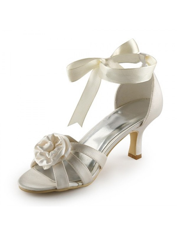 Satin Stiletto Heel Sandals Ivory Wedding Shoes With Satin Flower