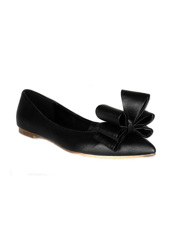 Sheepskin Flat Heel Closed Toe With Bowknot Flat Shoes