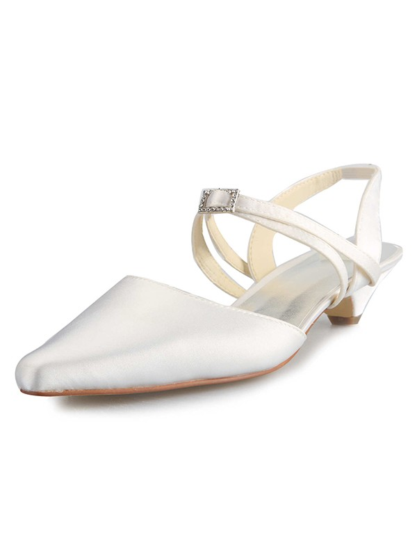Satin Kitten Heel Closed Toe With Buckle White Wedding Shoes