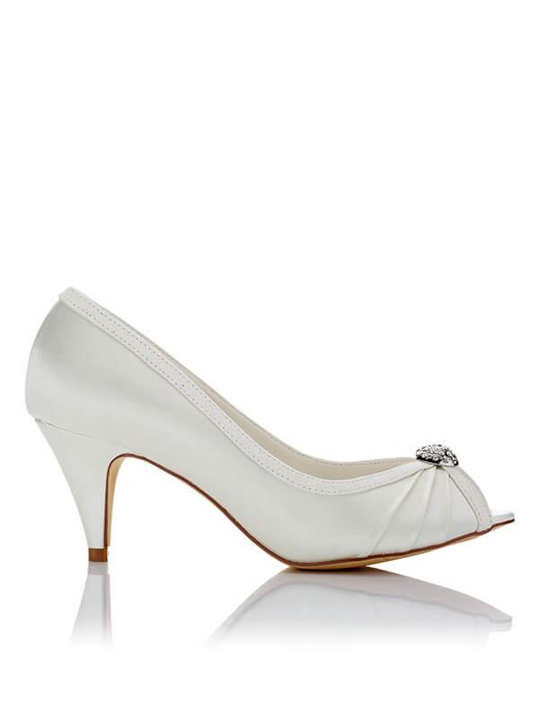 Satin PU Peep Toe Spool Heel Wedding Shoes