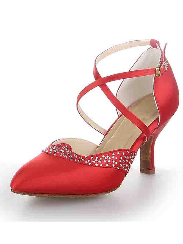 Satin Closed Toe Stiletto Heel Buckle Dance Shoes