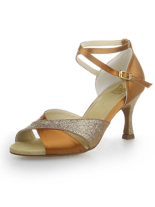 Peep Toe Sparkling Glitter Satin Stiletto Heel Dance Shoes
