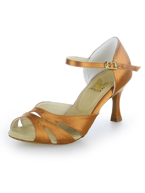 Peep Toe Buckle Satin Stiletto Heel Dance Shoes