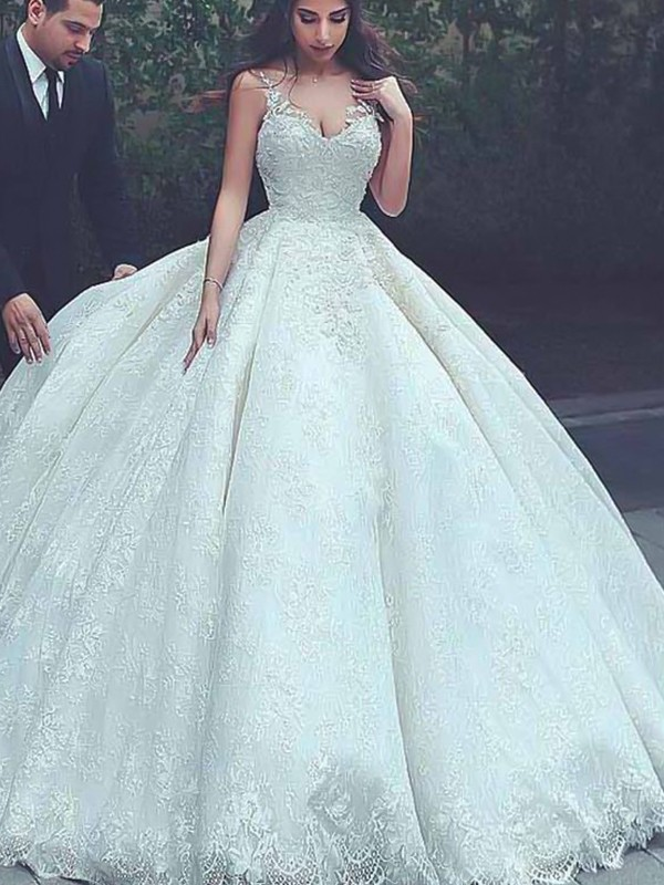 Ball Gown Spaghetti Straps Ivory Sleeveless Brush Train Lace Tulle Wedding Dresses