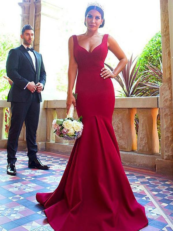 Mermaid V-neck Sleeveless Brush Train Ruffles Elastic Woven Satin Bridesmaid Dresses