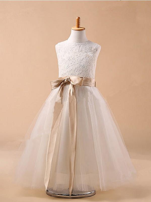 Jewel Tea-Length White Flower Girl Dresses with Bowknot