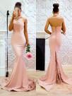 Mermaid Sleeveless Brush Train Lace Satin Pearl Pink Prom Dresses