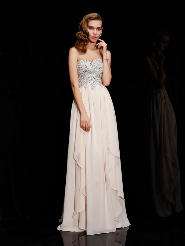 Sheath Sweetheart Floor-Length Champagne Prom Dresses