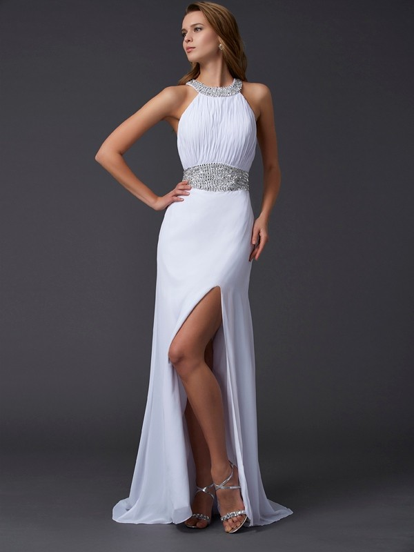 Chiffon Scoop Brush Train White Prom Dresses