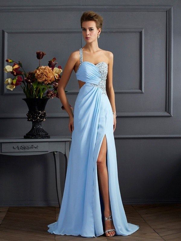 Sheath One-Shoulder Brush Train Light Sky Blue Prom Dresses