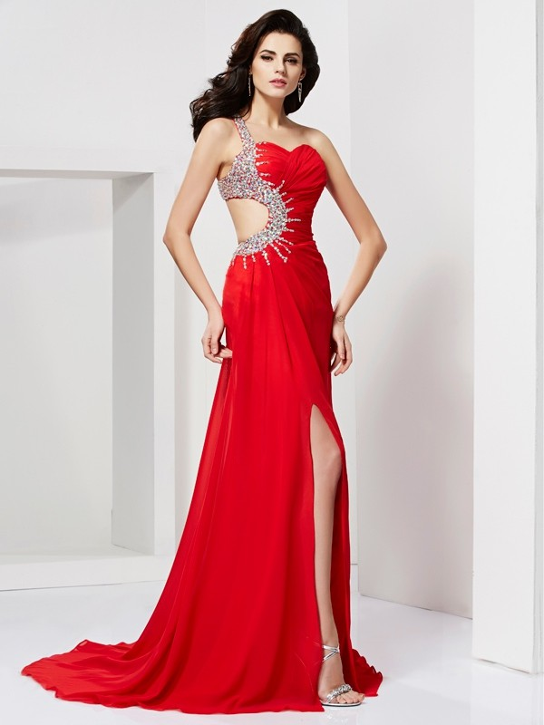 Red Sweetheart Chiffon Brush Train Prom Dresses