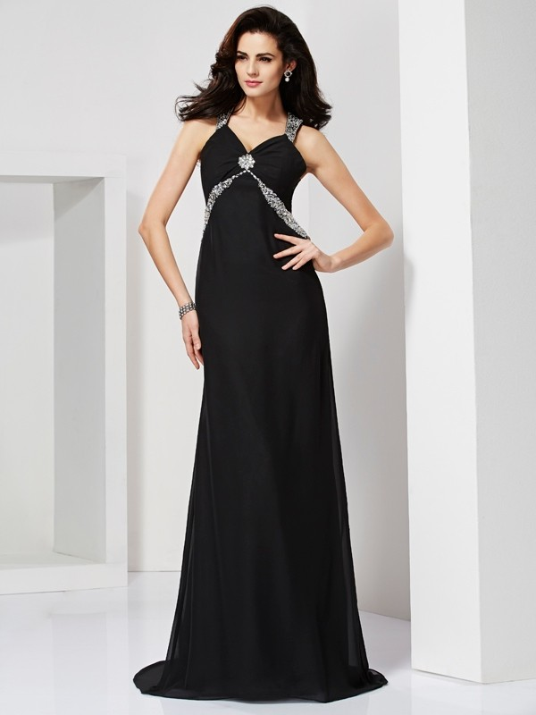 Sheath Straps Brush Train Black Prom Dresses