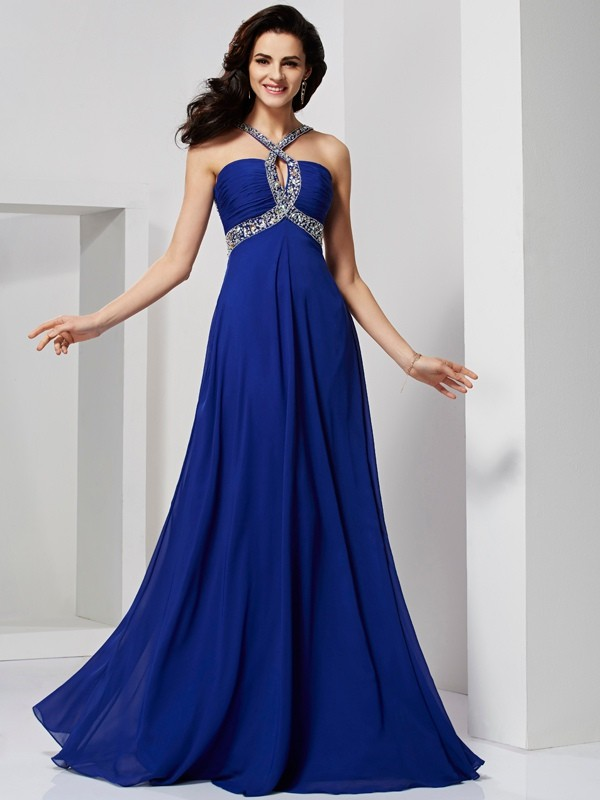 Chiffon Other Brush Train Royal Blue Prom Dresses