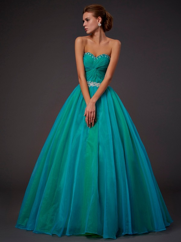 Green Ball Gown Sweetheart Floor-Length Prom Dresses with Beading