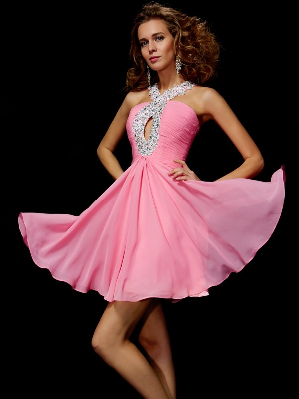 Fuchsia A-Line V-neck Short/Mini Homecoming Dresses with Beading