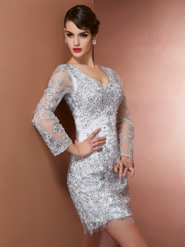 Sheath Long Sleeves V-neck Short/Mini Silver Homecoming Dresses