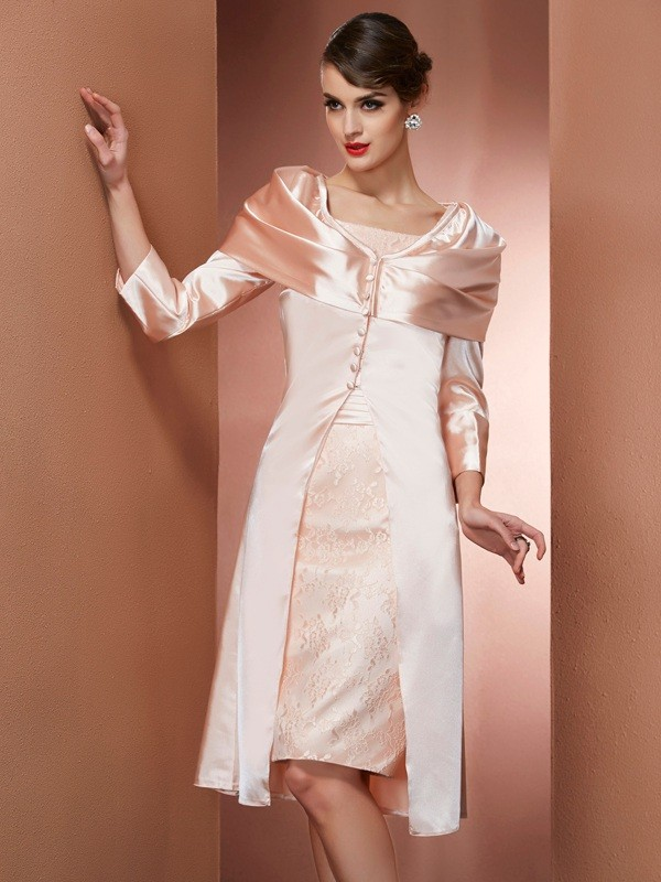 Sheath Elastic Woven Satin Square Knee-Length Pearl Pink Prom Dresses