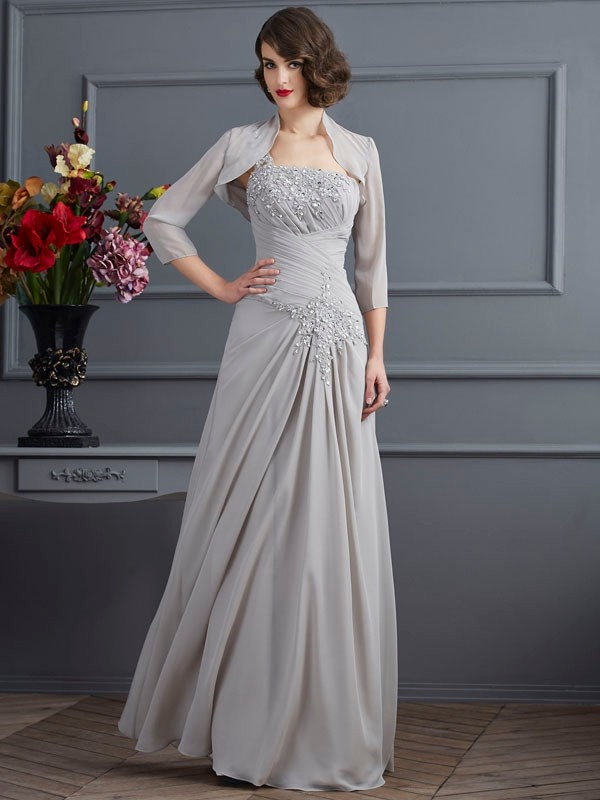 Chiffon A-Line Long One-Shoulder Silver Mother of the Bride Dresses