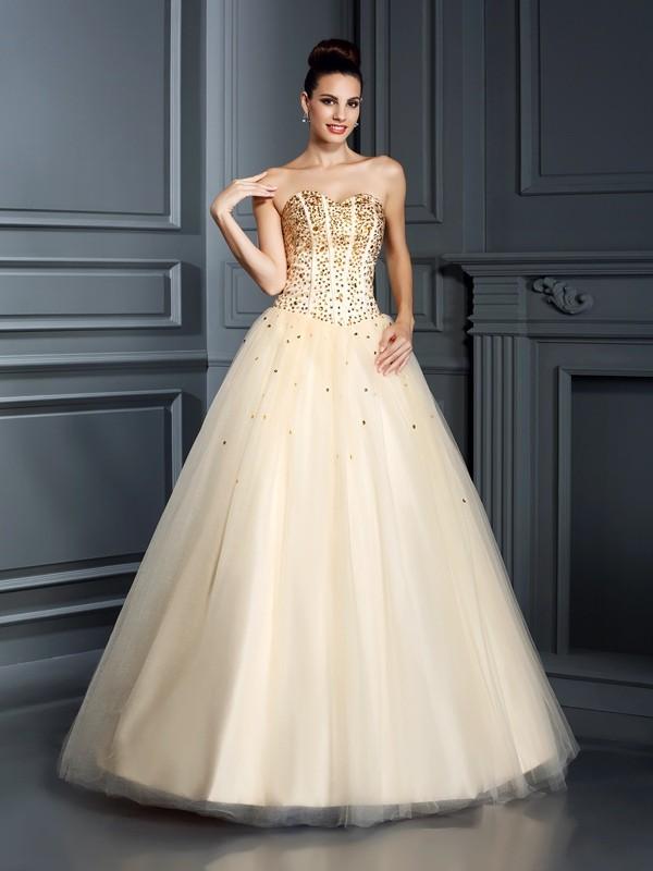Satin Sweetheart Floor-Length Champagne Prom Dresses