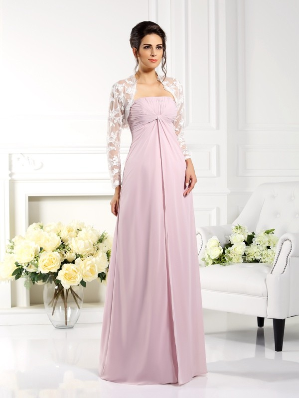 A-Line Chiffon Strapless Long Mother of the Bride Dresses with Lace
