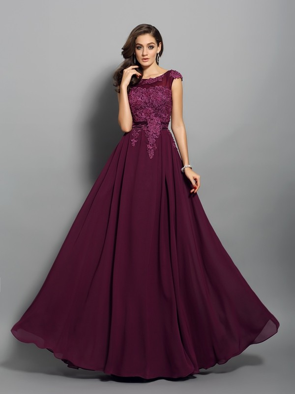 A-Line Scoop Floor-Length Grape Prom Dresses