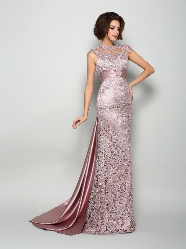 Brown A-Line High Neck Court Train Mother of the Bride Dresses