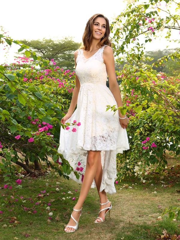 White V-neck Lace Asymmetrical Bridesmaid Dresses