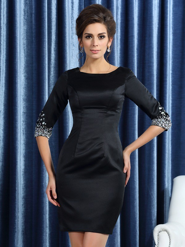 Square Short/Mini Black Mother of the Bride Dresses with Beading