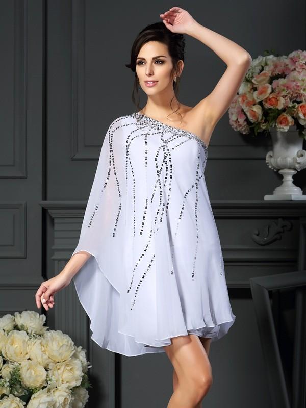 One-Shoulder Short/Mini White Mother of the Bride Dresses