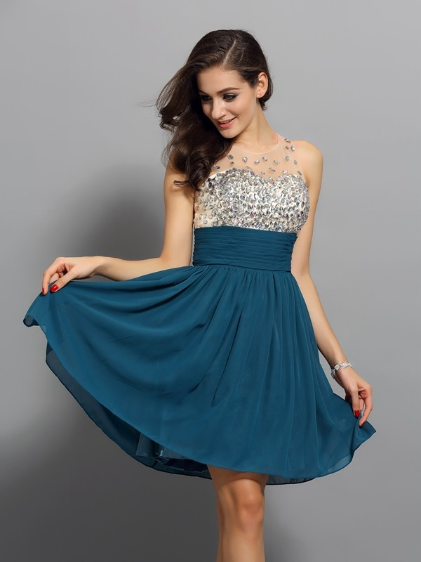 Bateau Short/Mini Other Homecoming Dresses with Rhinestone