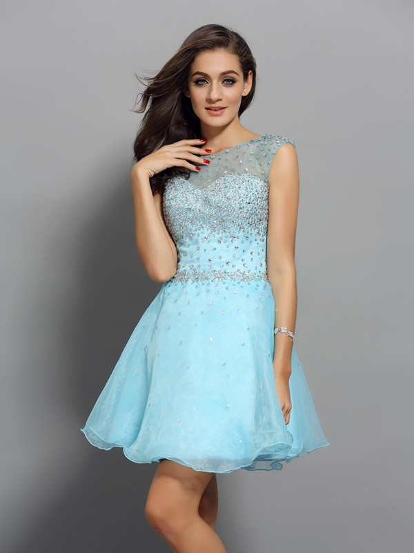 A-Line Scoop Short/Mini Blue Homecoming Dresses