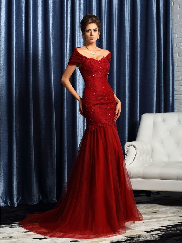 Satin Short Sleeves Off-the-Shoulder Brush Train Red Mother of the Bride Dresses