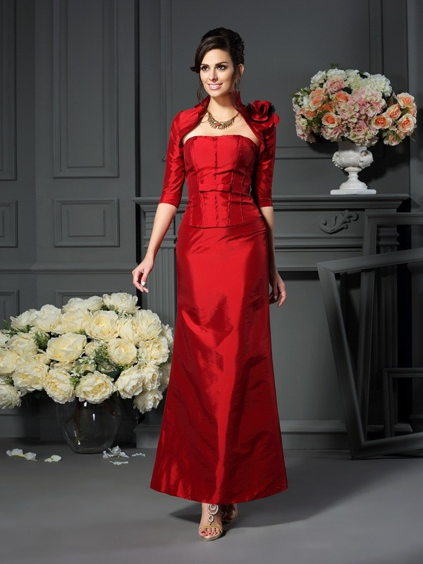 Red Strapless Taffeta Ankle-Length Mother of the Bride Dresses