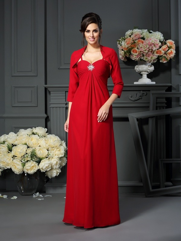 Floor-Length Spaghetti Straps Burgundy Mother of the Bride Dresses
