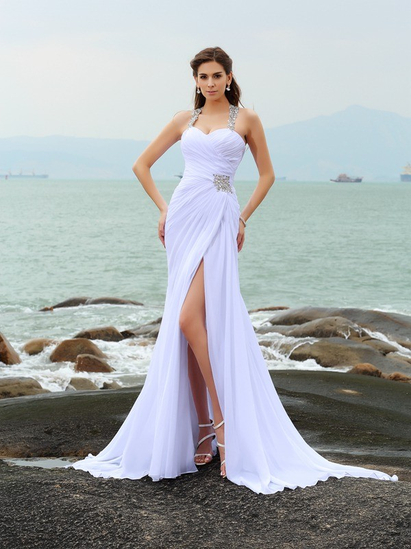 Sheath Straps Chapel Train White Wedding Dresses