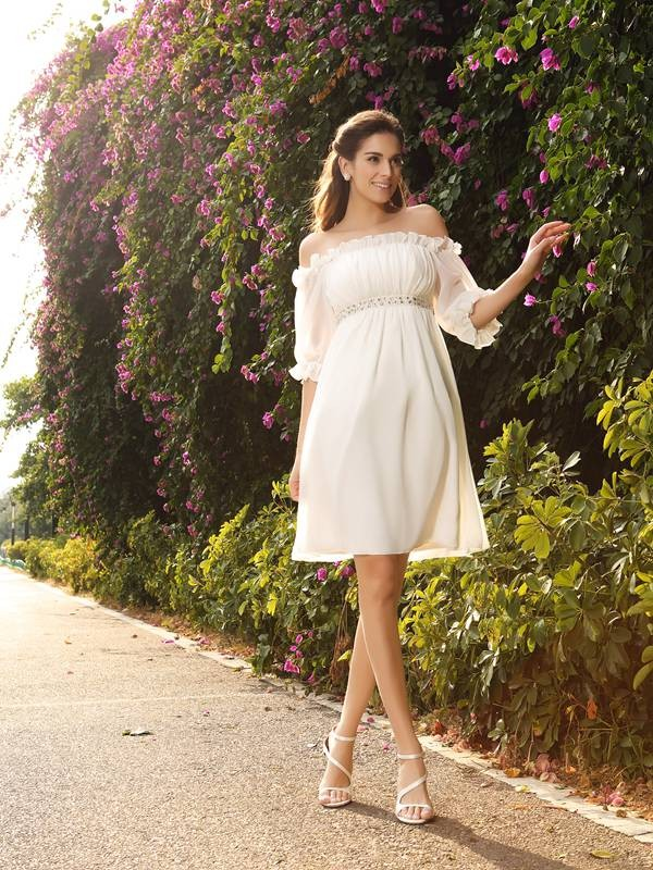 Off-the-Shoulder Knee-Length Ivory Wedding Dresses with Beading