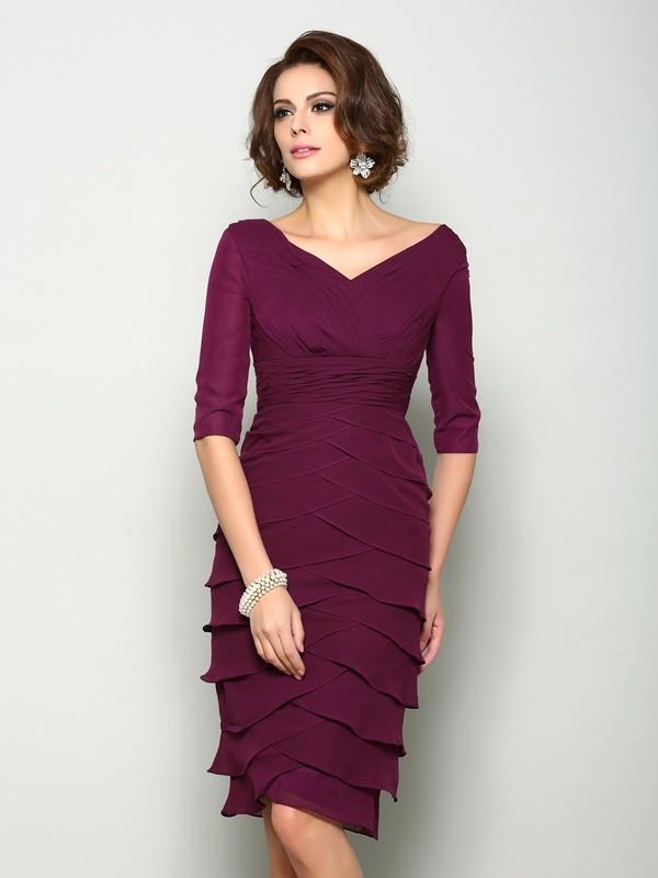 Half Sleeves V-neck Knee-Length Burgundy Mother of the Bride Dresses