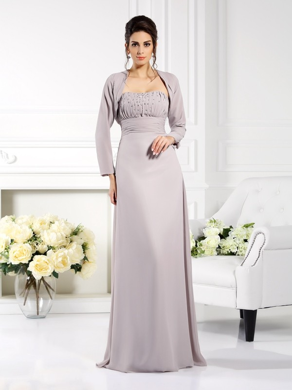 Strapless Floor-Length Grey Mother of the Bride Dresses with Beading
